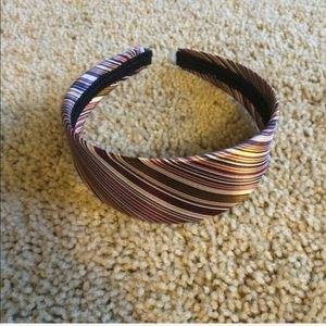 Jcrew silk striped headband pink brown white